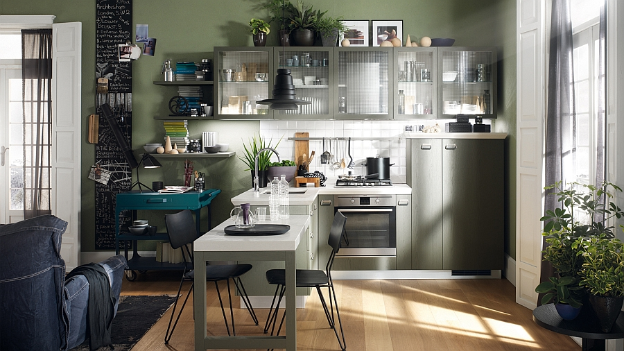 Glass door cabinets for a small kitchen