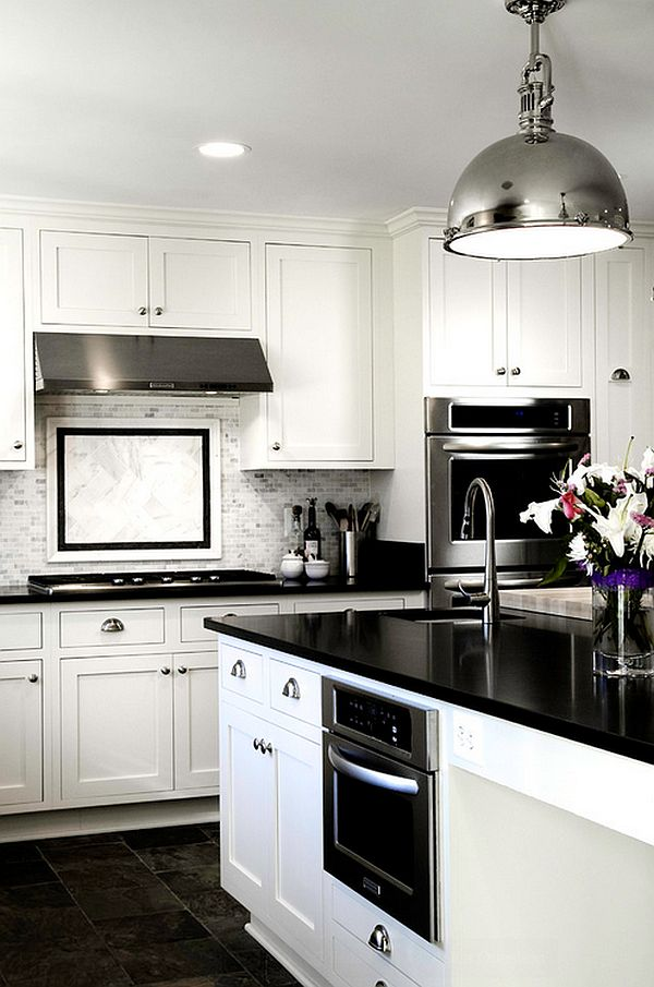View in gallery Glossy contemporary kitchen in black and white