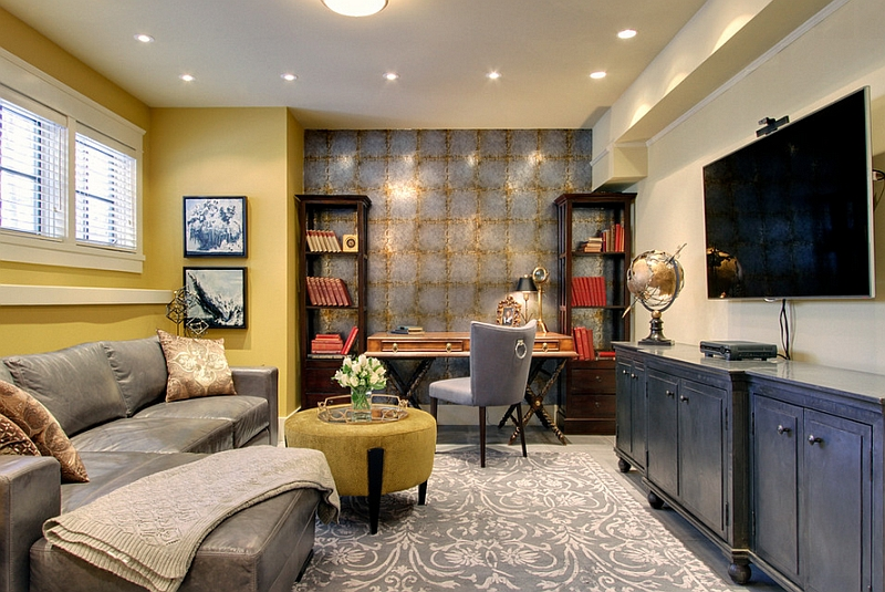 Gorgeous and well decorated home office in the basement