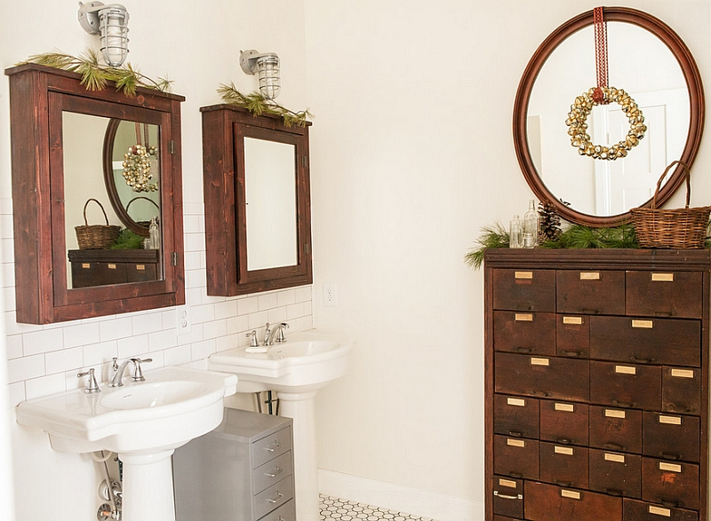 Gorgeous apothecary chest for the rustic bathroom