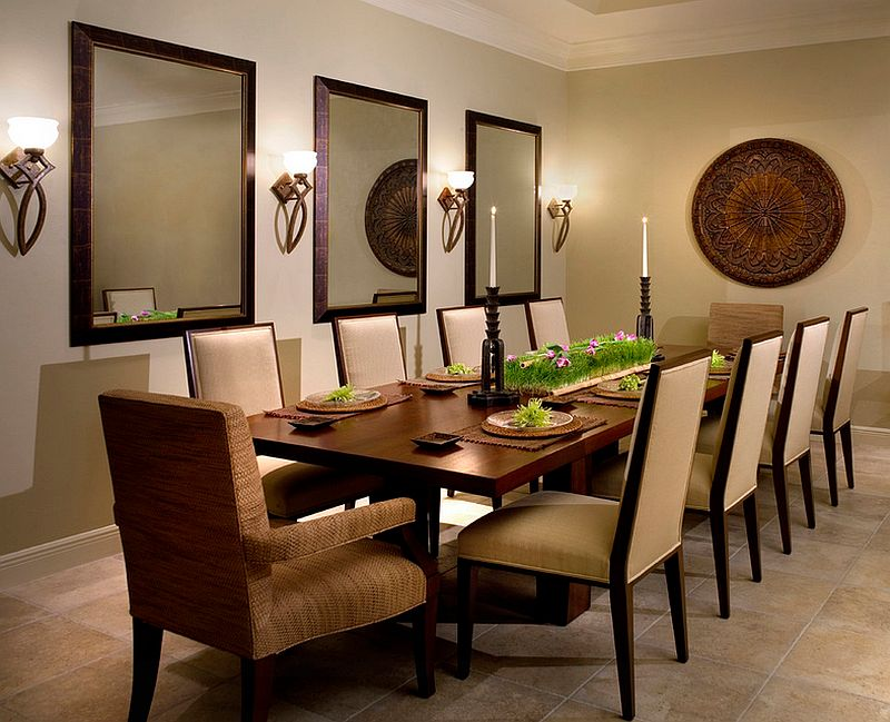 gorgeous contemporary dining room with sconce lighting lighting up