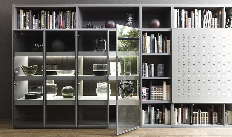 Gorgeous display in the wall unit with glass doors