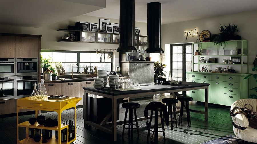 Gorgeous light green cabinets add color and vintage appeal to the modern kitchen