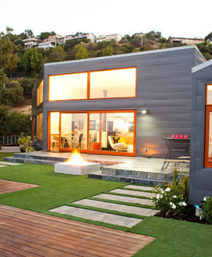 Gray house with orange trim
