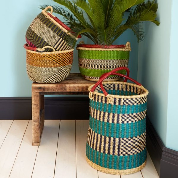 Handwoven baskets from West Elm