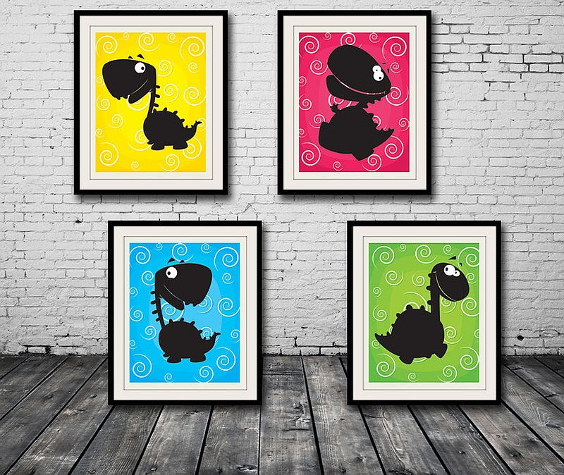 Happy Dinosaur Wall Prints look great in pretty much any room