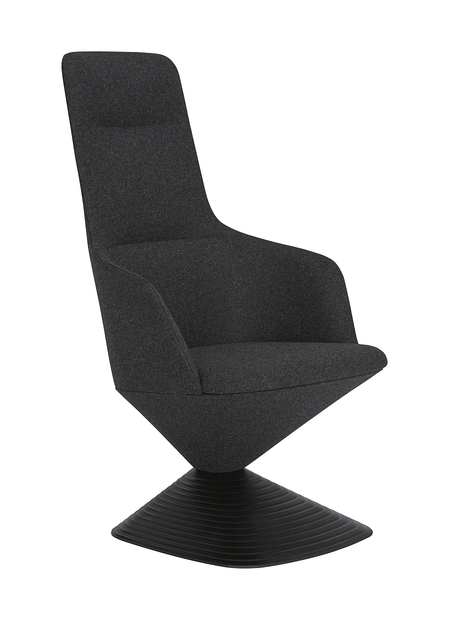 High back chair with a sculptural shape