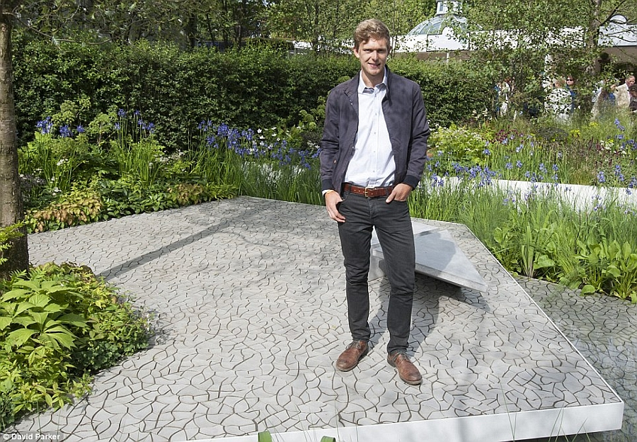 Hugo Bugg youngest gold medal winner at Chelsea Flower Show with the Cracked Earth tile