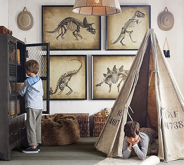 Decorar Habitacion Vintage ~ Interesting framed dinosaur wall arts is apt even for adult bedrooms