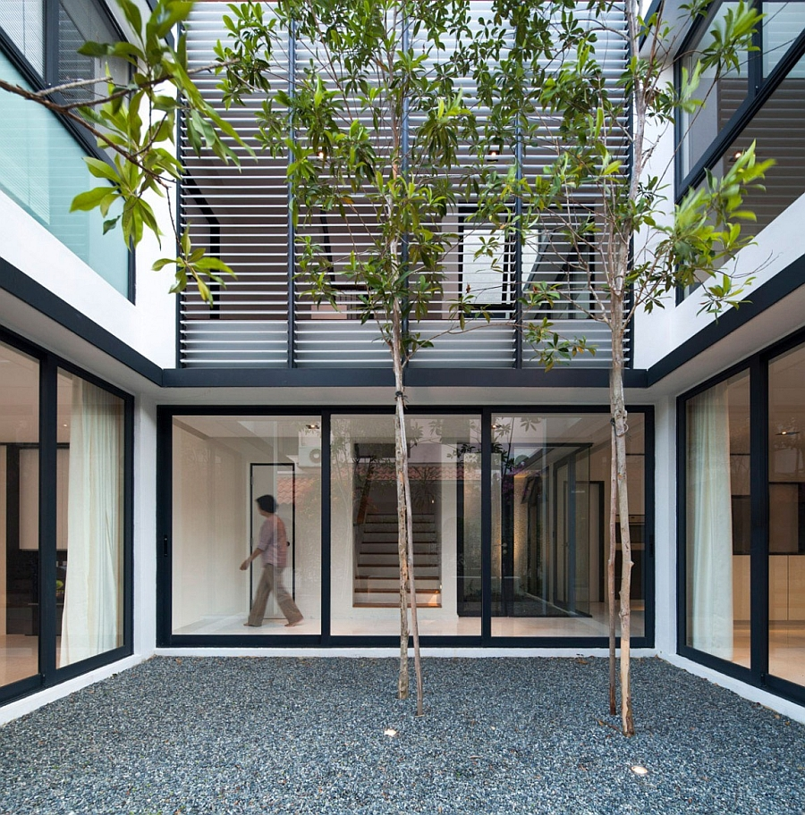 Interior courtyard with sliding glass windows