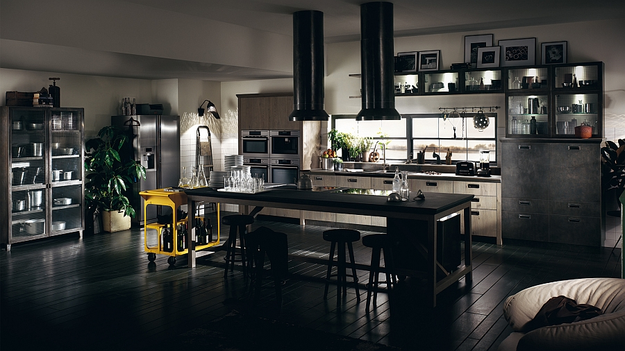 Kitchen in black with dark floor and beautiful cart in yellow