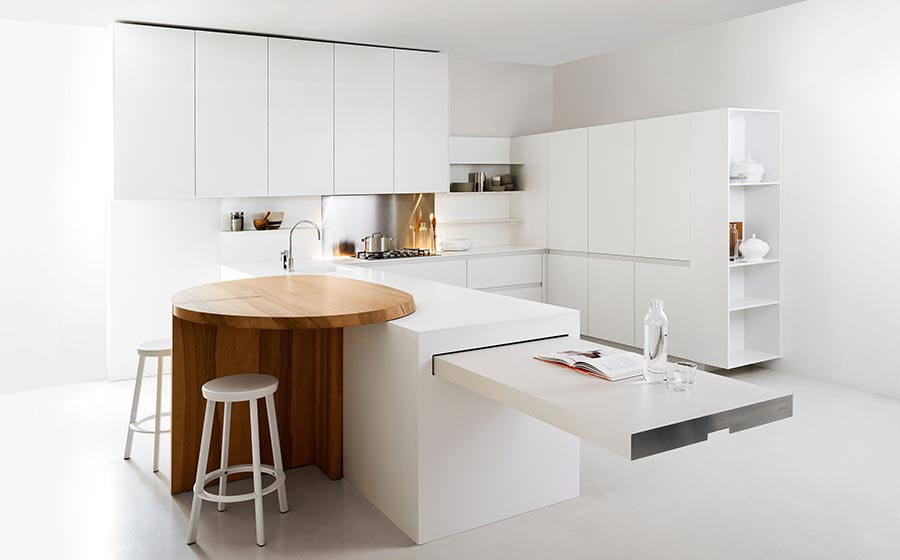 minimalist kitchen offers space saving solutions for the small urban