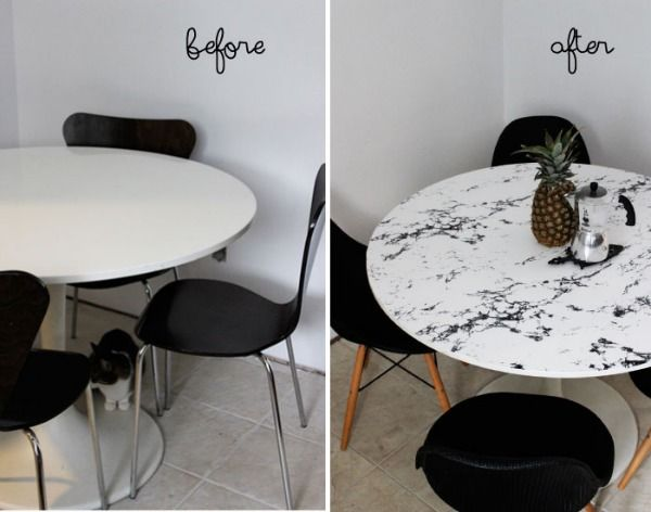 Kitchen table with marble contact paper