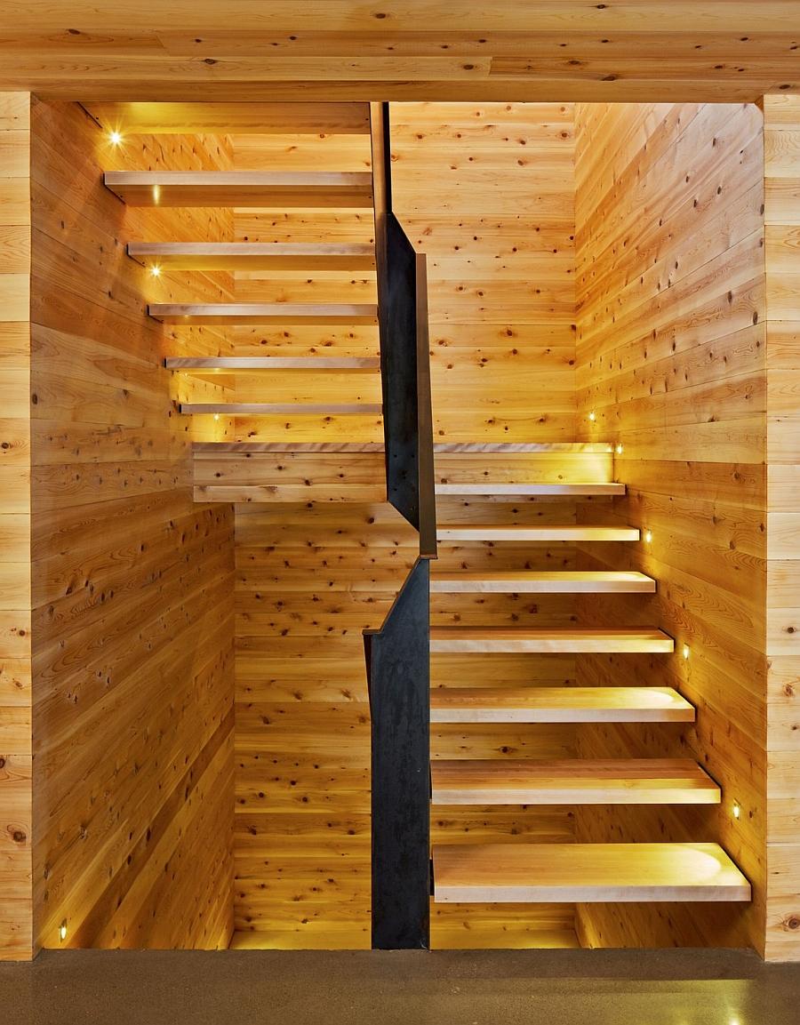 LED lighting illuminates the stairway