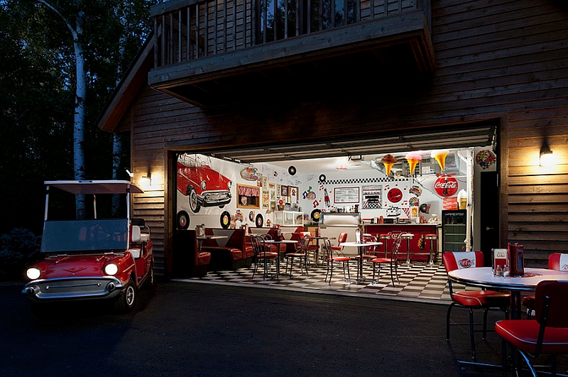 Large garage transformed into a retro style family room Coca-Cola-themed 50s diner!