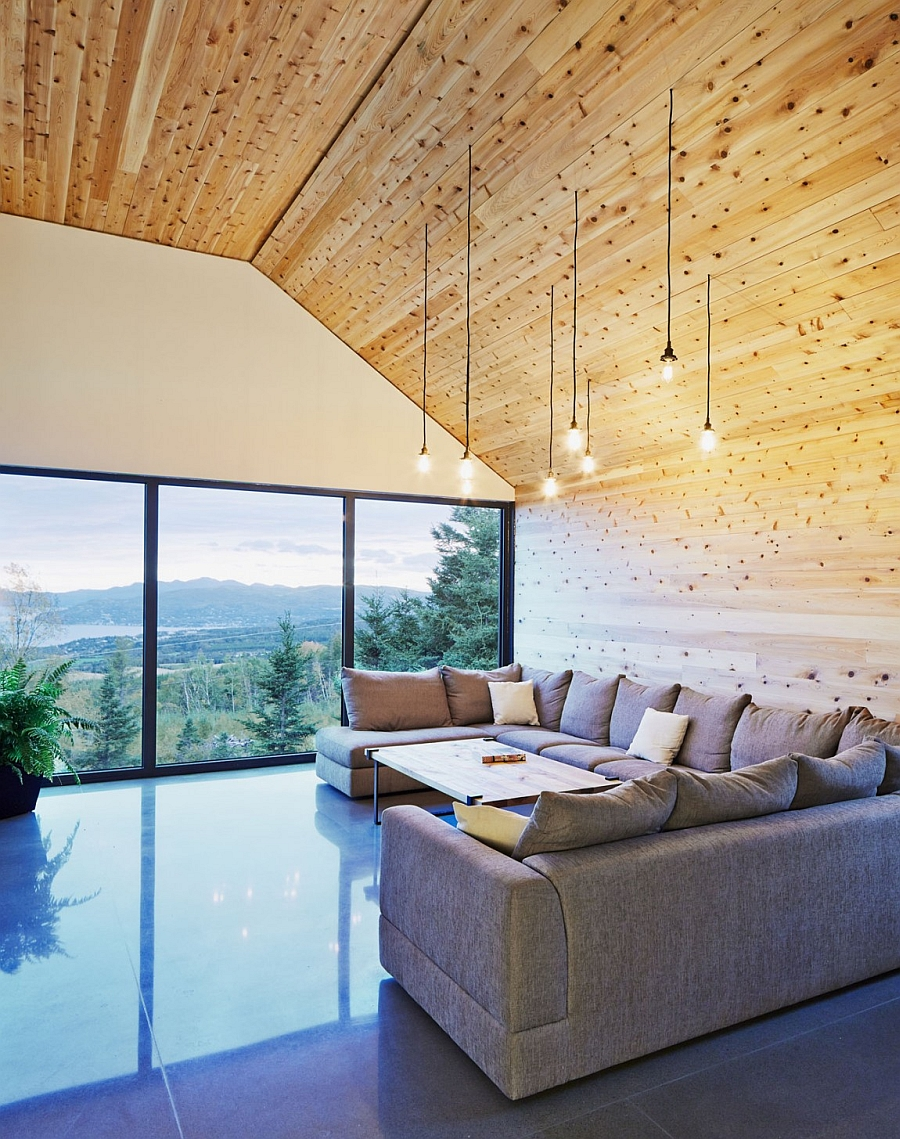 Large plush couch and sliding glass doors in the living space