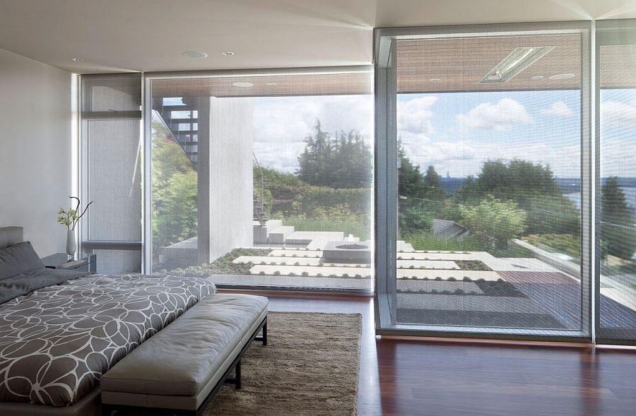 Large sliding glass door for the modern bedroom