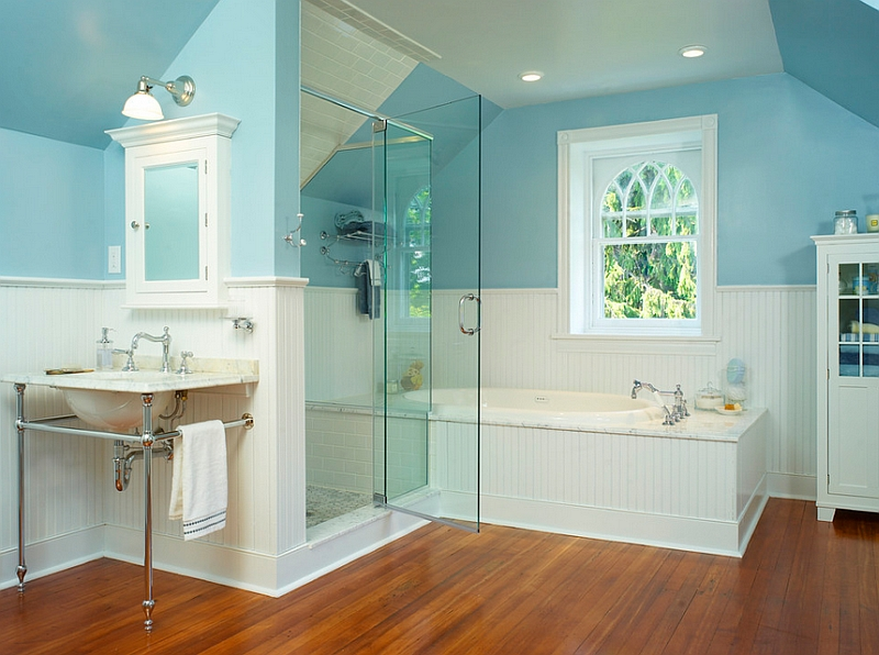 Traditional Blue Bathroom Designs : Blue And White Interiors: Living Rooms, Kitchens, Bedrooms And More