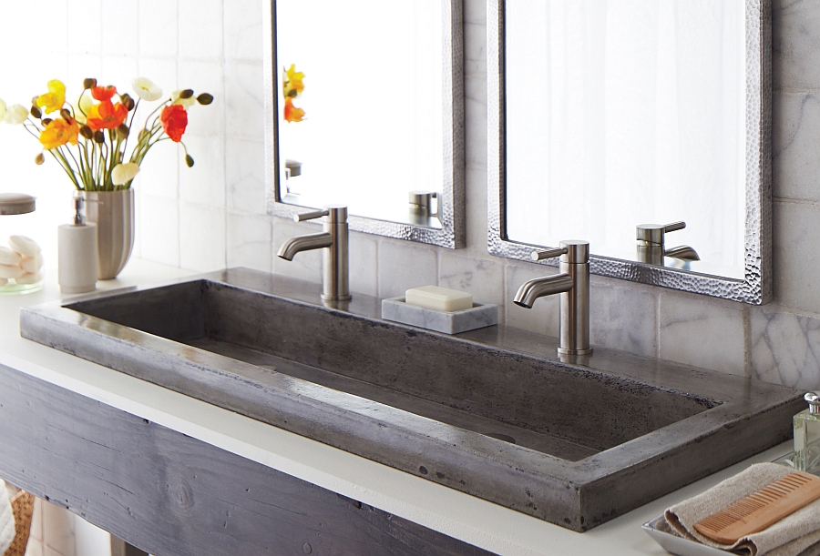Eco conscious artisan crafted sinks sparkle with contemporary class - Lavabo double salle de bain ...