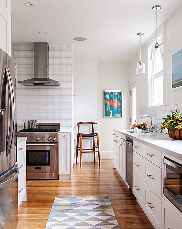 Light-filled kitchen with fresh greenery