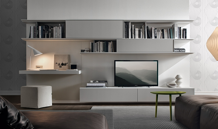 view in gallery living room wall unit system combines entertainment needs with and workstation - Designer Wall Units For Living Room