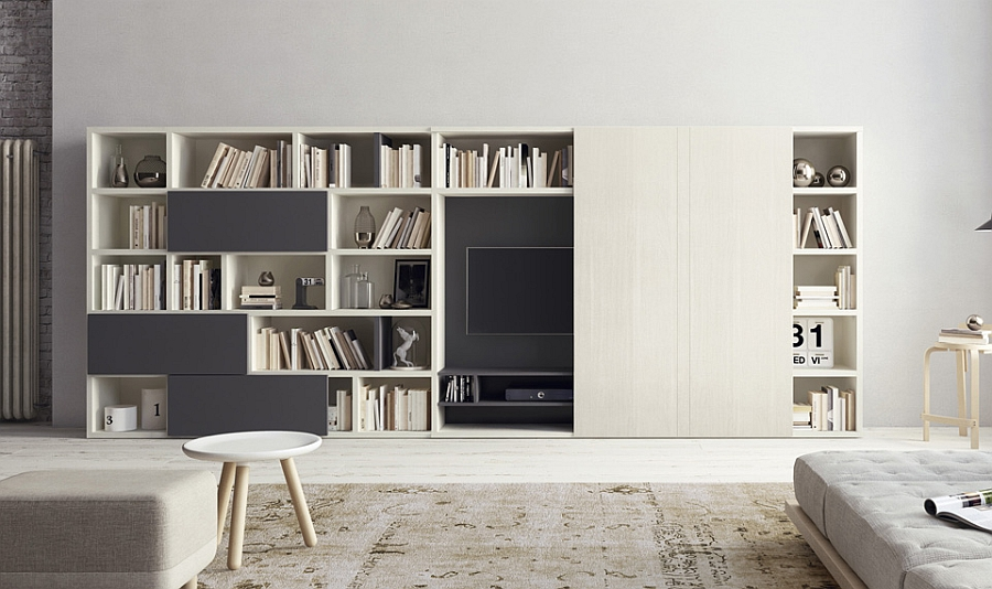 living room wall unit with large space for bookshelves and a flat