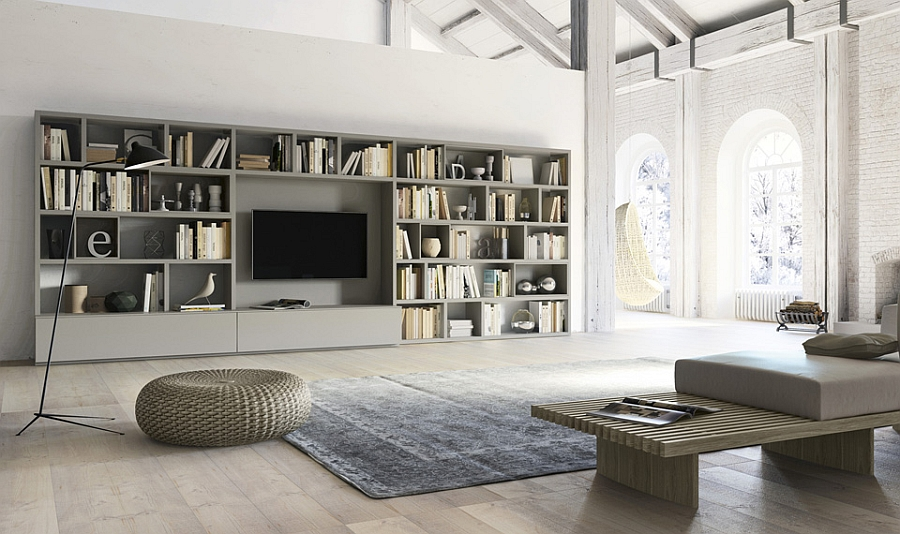 Living room wall unit with side panels, shelves, TV compartment and DVD shelf