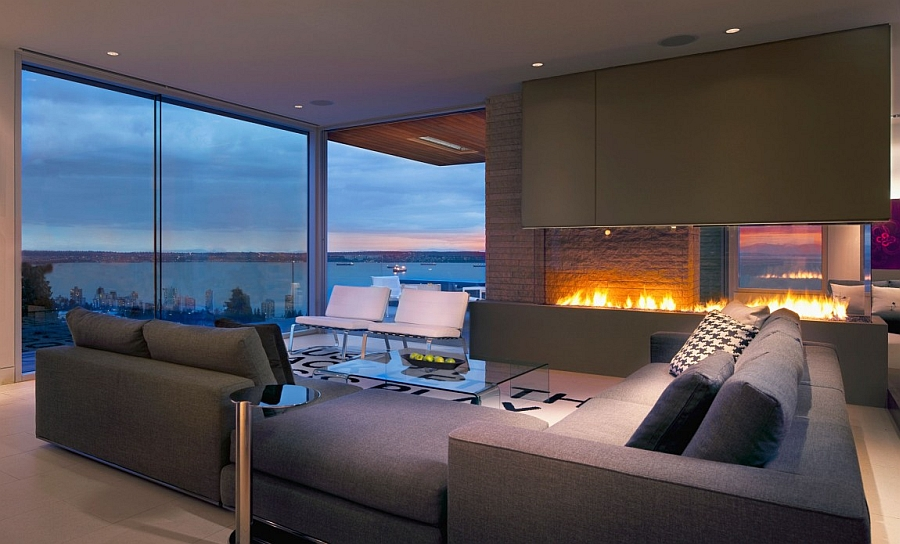 Living room with ocean views in  Vancouver, Canada
