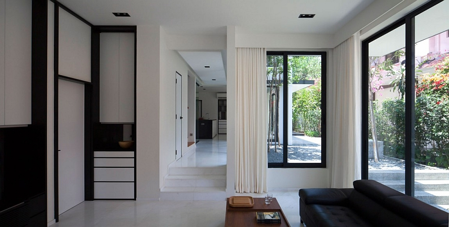 view in gallery living space in black and white