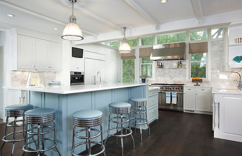 Lovely bar stools complement the color scheme of the kitchen