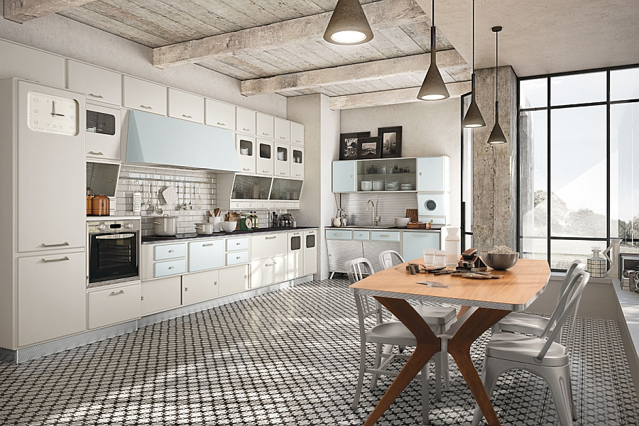 Vintage kitchen offers a refreshing modern take on fifties style for Cuisine blanche et bois