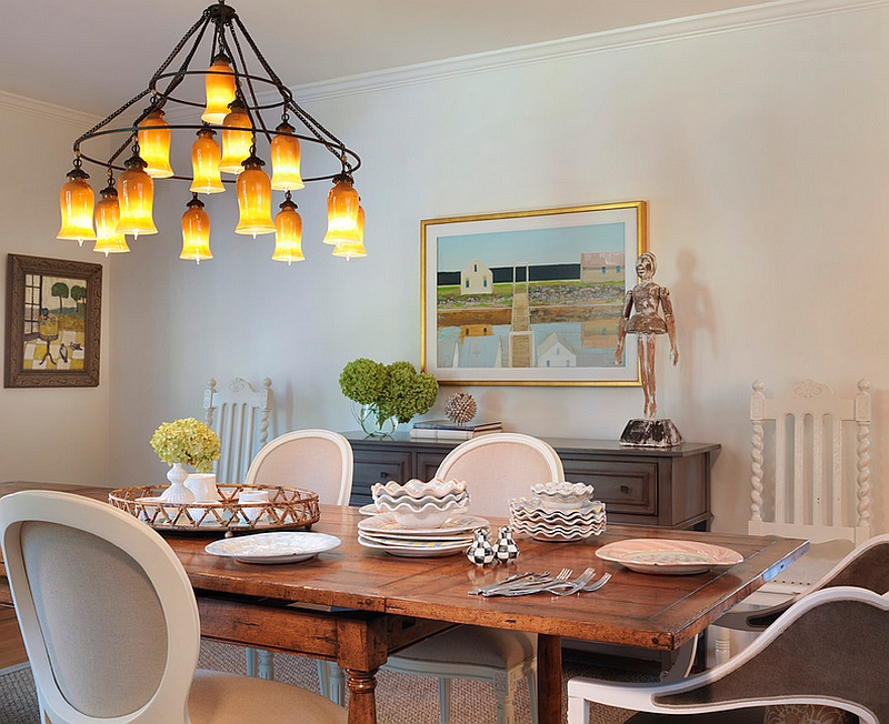 Lovely dining room with Sara Chandelier in warm amber