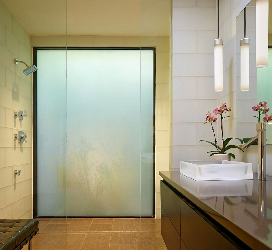 Lovely glass shower area in the bath