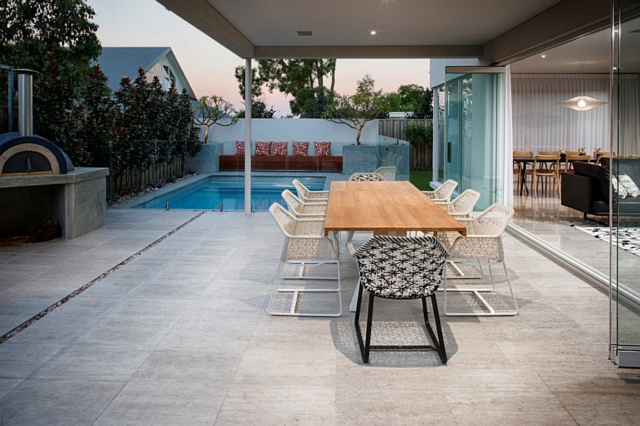 Lovely outdoor dining area next to the pool