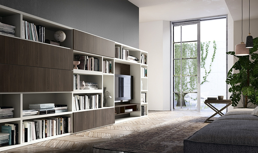 contemporary living room wall units for those who love their books
