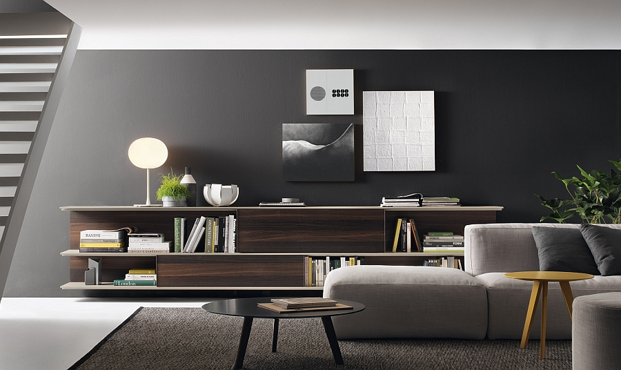 use of grey in the living room to complement the trendy wall unit