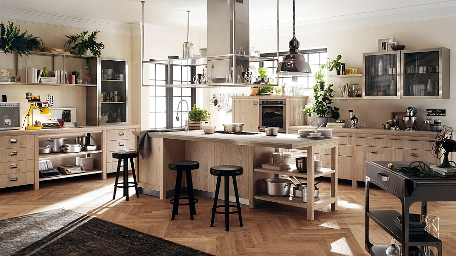 Lovely use of wood gives the kitchen a vintage appeal