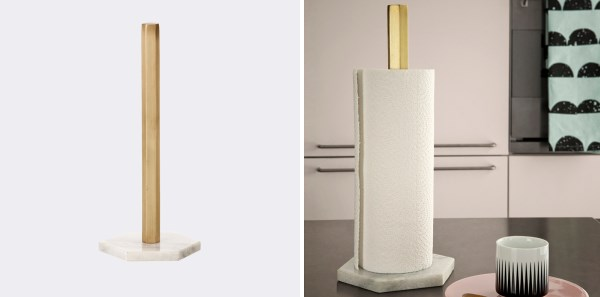Marble and brass paper towel stand