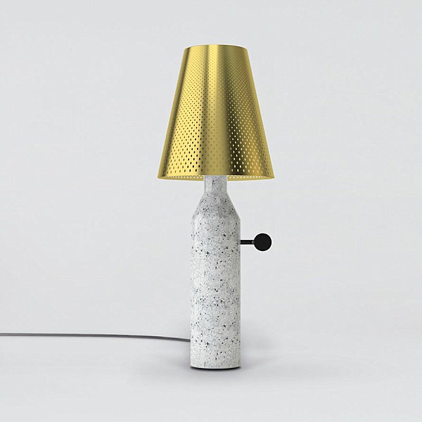 Marble and lasercut steel lamp