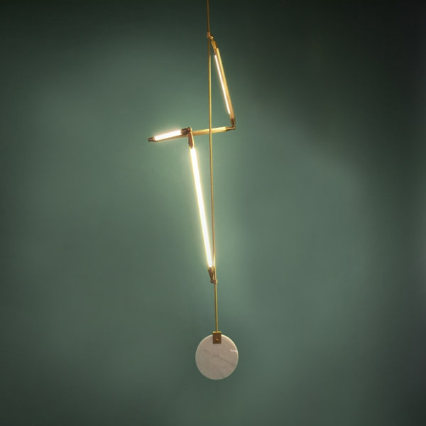 Marble, brass and LED pendant light