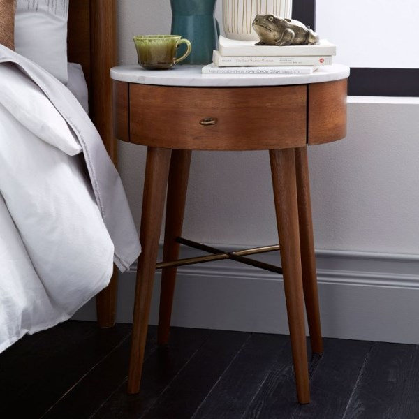 Marble-top wooden nightstand