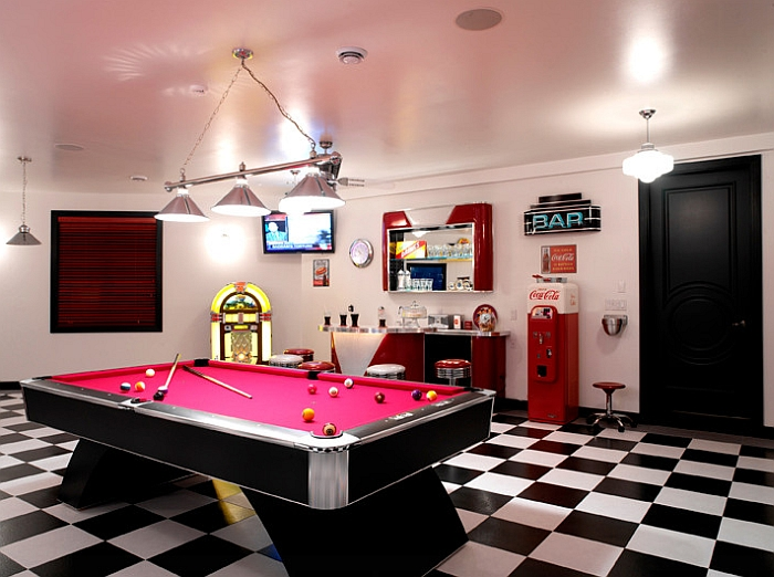 Media and game room of a bachelor pad with the Coke machine