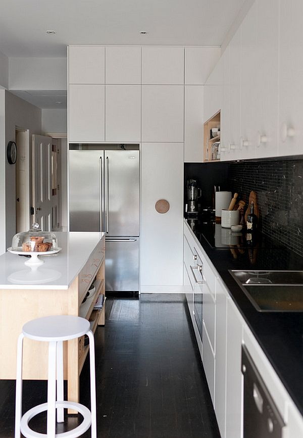 view in gallery midcentury modern kitchen in black and white with a hint of cream
