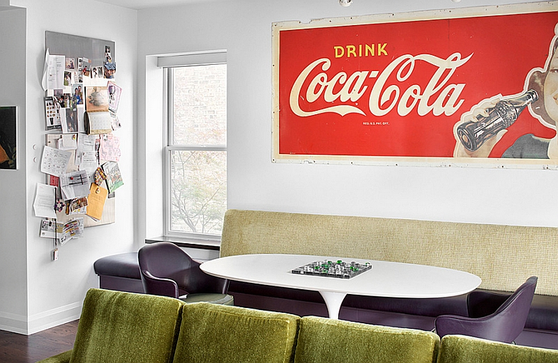 Midcentury style dining room with a vintage Coke Poster
