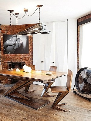Modern London Flat with exposed brick walls