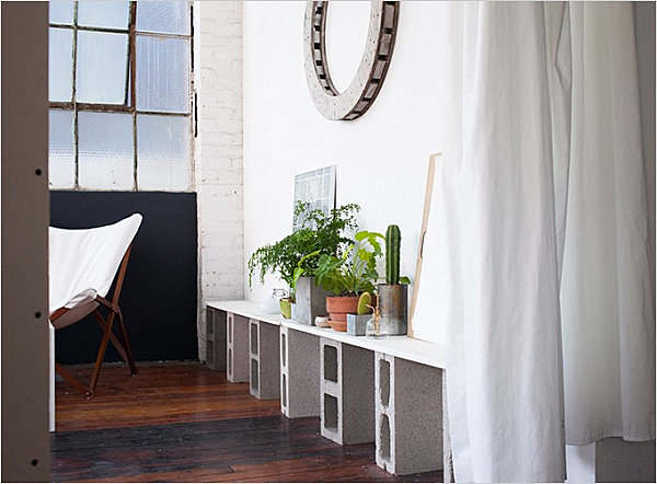 Modern cinder block shelf