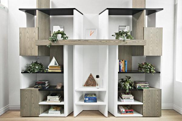 Modern geometric bookshelf