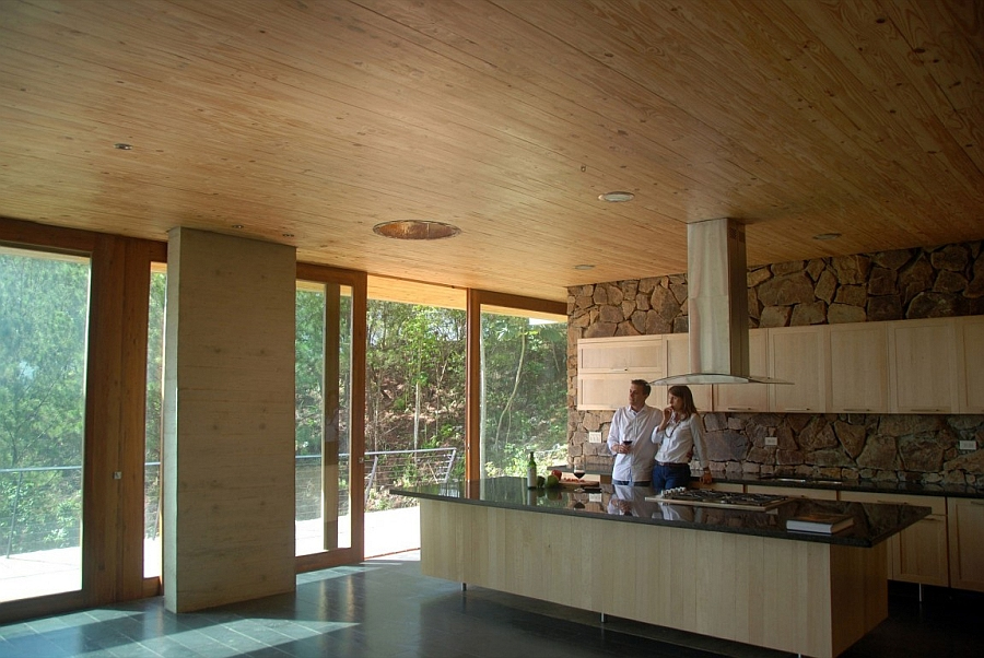 Modern kitchen crafted in wood and stone