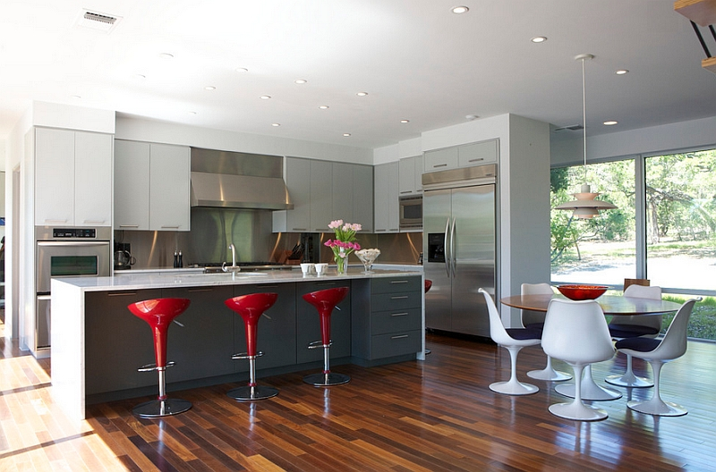 Modern kitchen with a splash of red