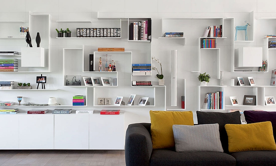 Modern, minimal bookshelf in white